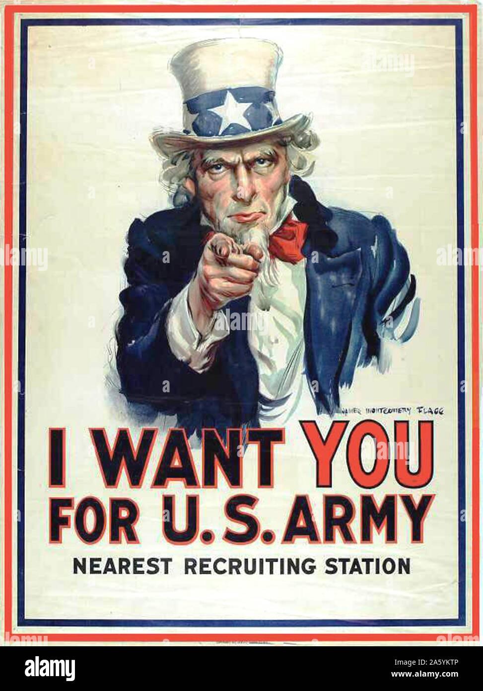 'Je veux que vous pour l'armée américaine': affiche de recrutement de la Première Guerre mondiale, montrant l'Oncle Sam pointant son doigt vers l'avant et de faire appel au patriotisme Banque D'Images