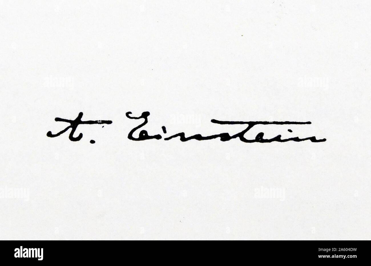 La signature d'Albert Einstein (1879-1955) physicien théorique d'origine allemande. En date du 20e siècle Banque D'Images
