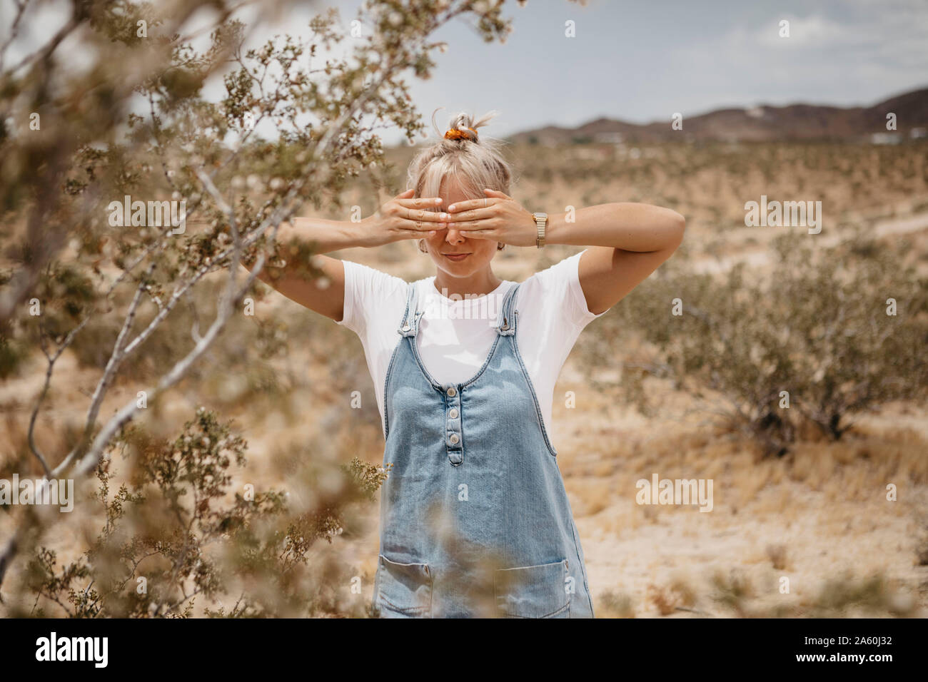 Young woman standing in desert landscape, Joshua Tree National Park, California, USA Banque D'Images