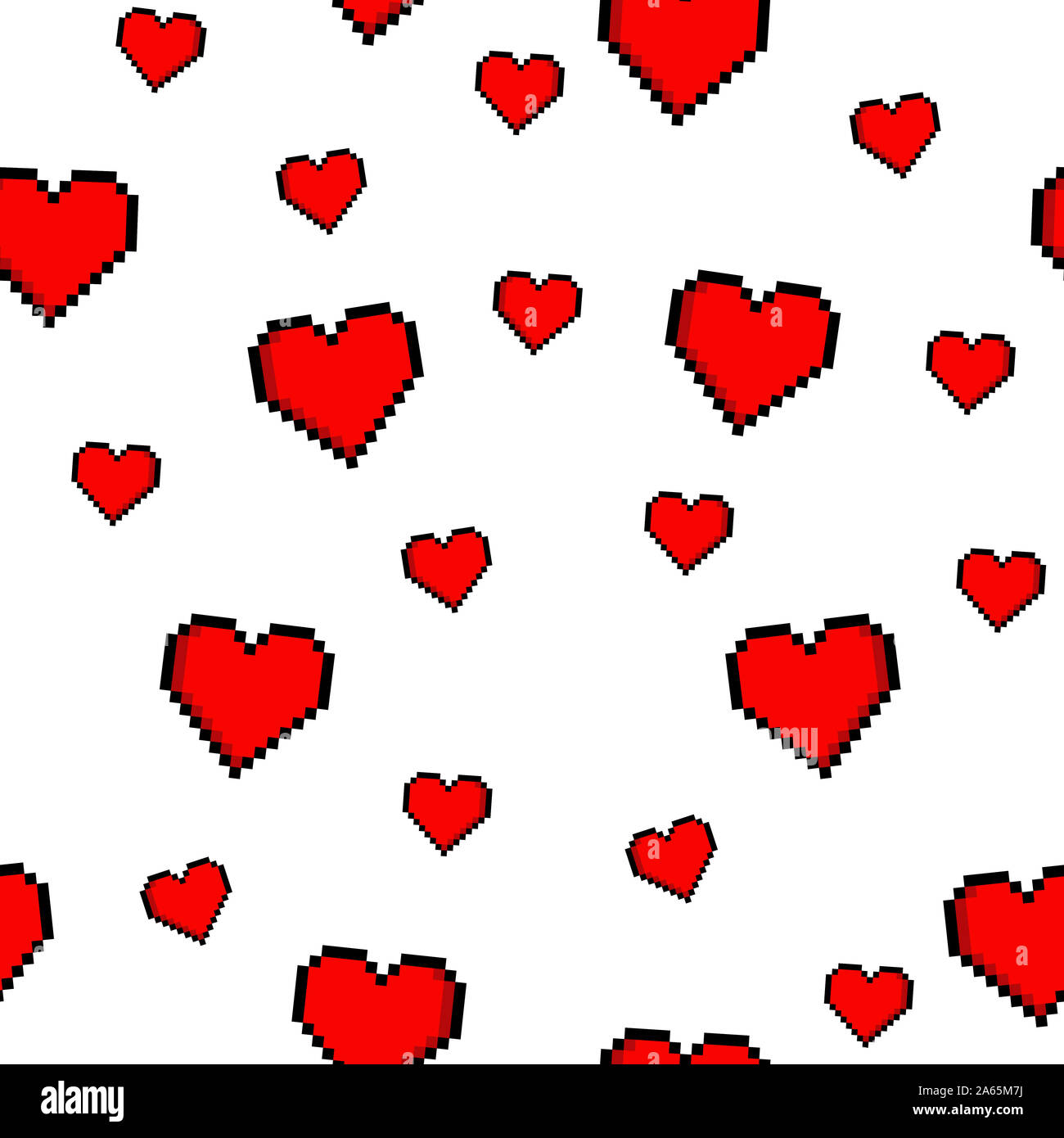Vector Seamless Pixel Heart Pattern Photos Vector Seamless