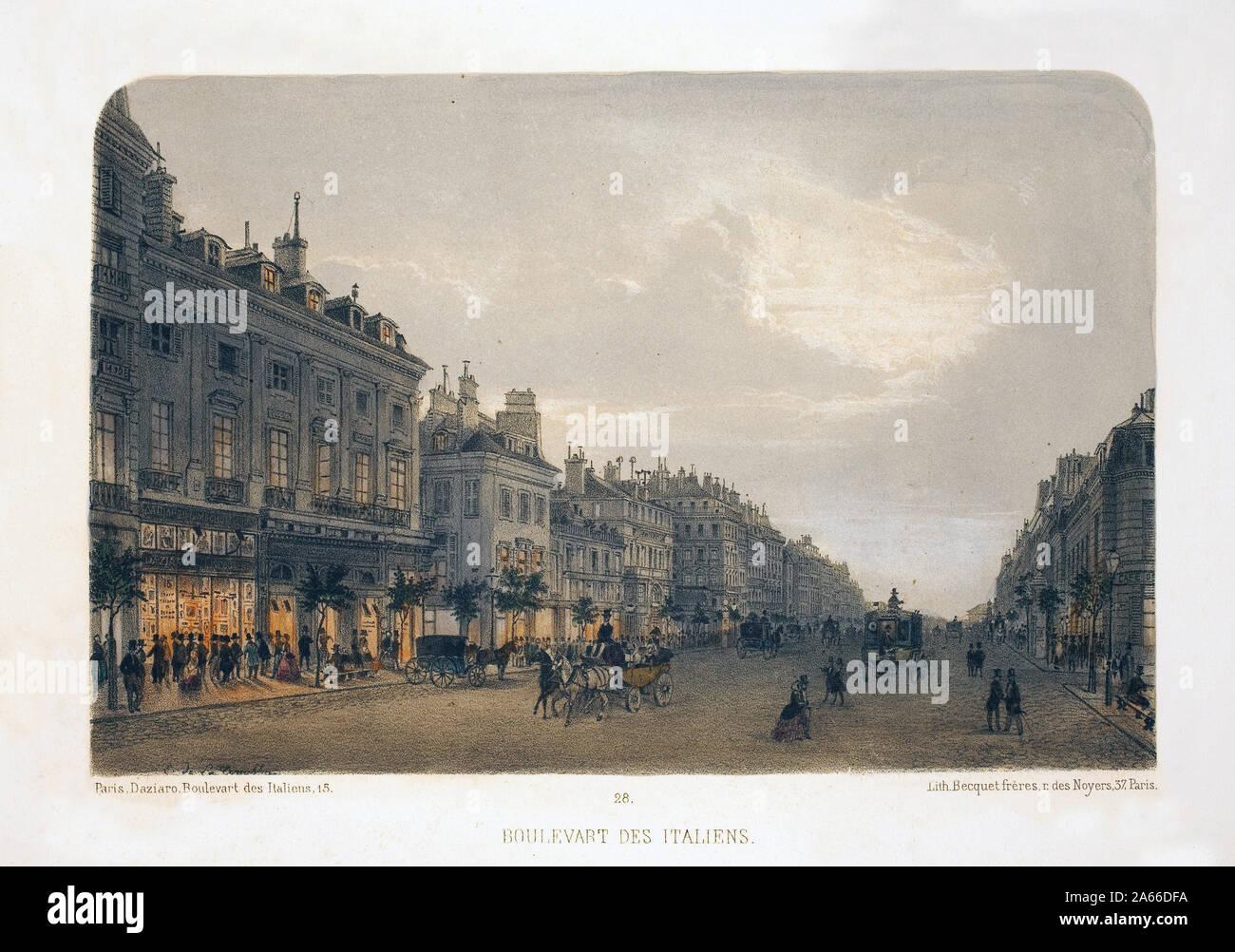 Boulevard des Italiens, Paris. Lithographie aquarellee, illustration de F.de la Tramblaiz, dans 'Album, souvenirs de Paris' Daziaro, Editeur, Paris, 188 Banque D'Images