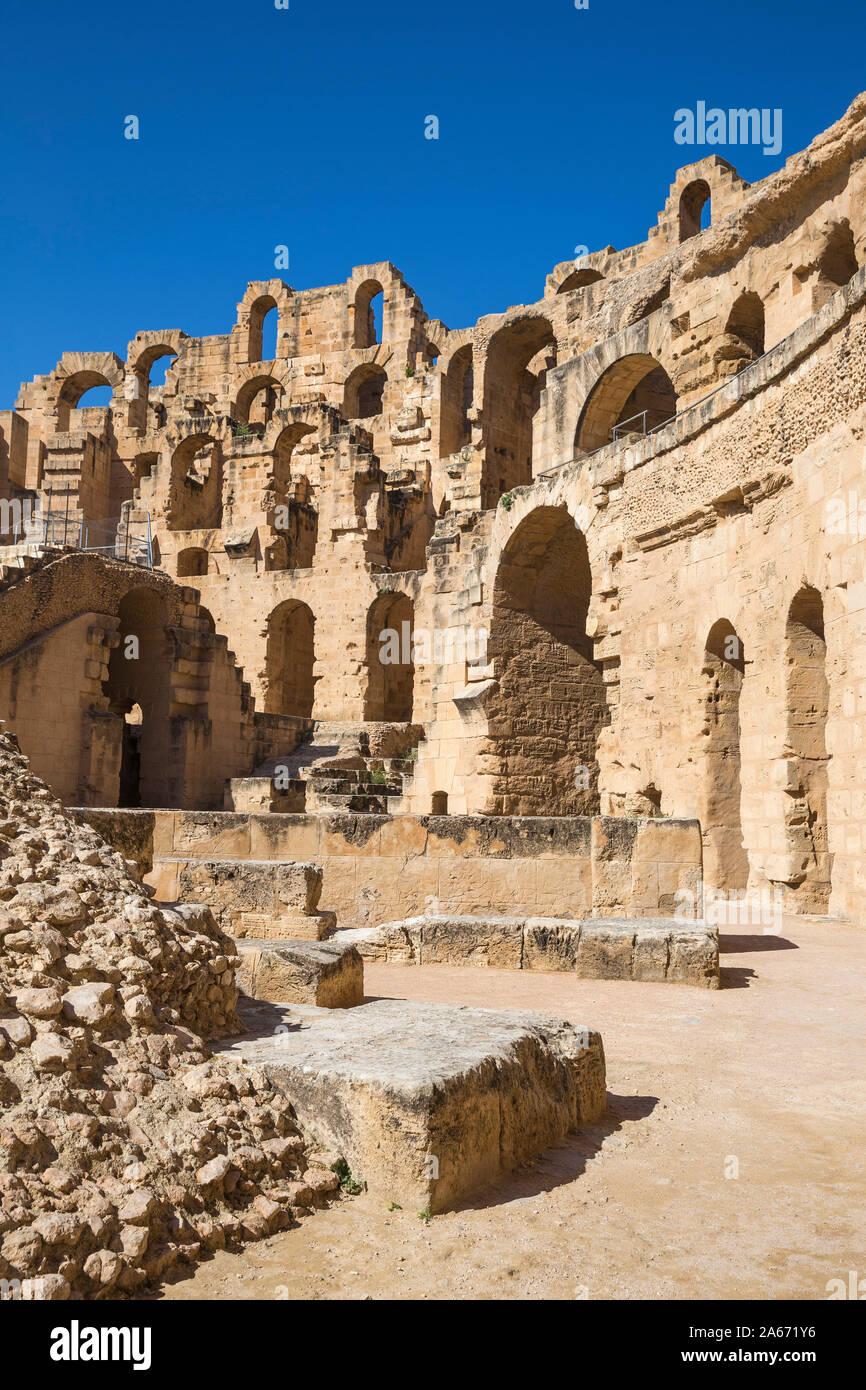 La Tunisie, El Jem, l'Amphithéâtre Romain Banque D'Images