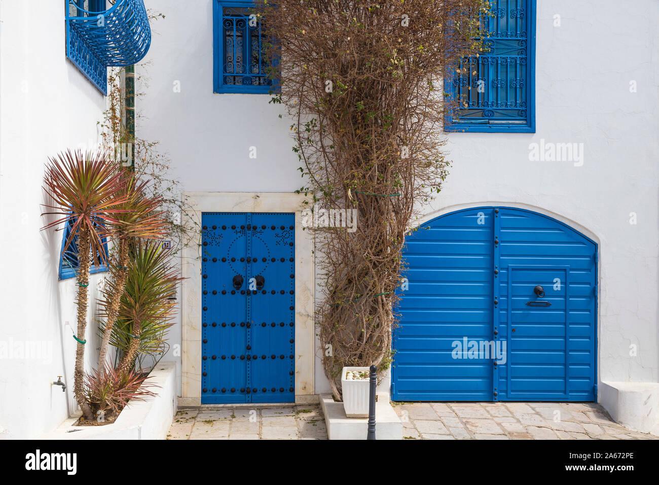 La Tunisie, pittoresque village blanc de Sidi Bou Said Banque D'Images
