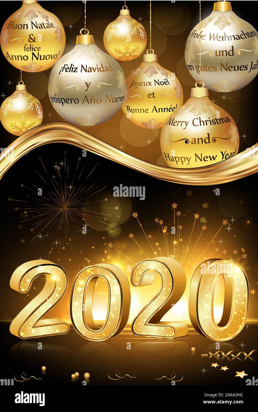 joyeux no l et bonne ann e 2020 crit en plusieurs langues. Black Bedroom Furniture Sets. Home Design Ideas