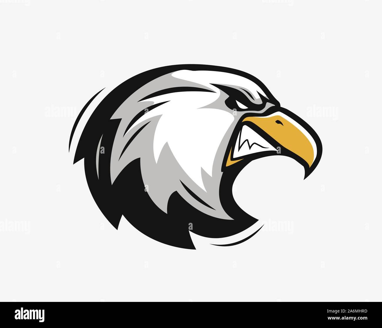 Tête d'un aigle en colère. Mascotte sportive. Illustration vectorielle Illustration de Vecteur