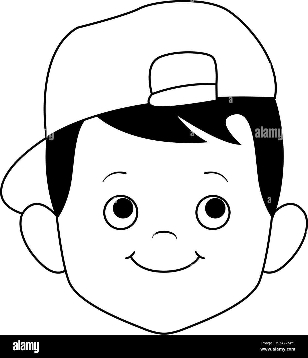 Cute boy portant une casquette, modèle plat Illustration de Vecteur