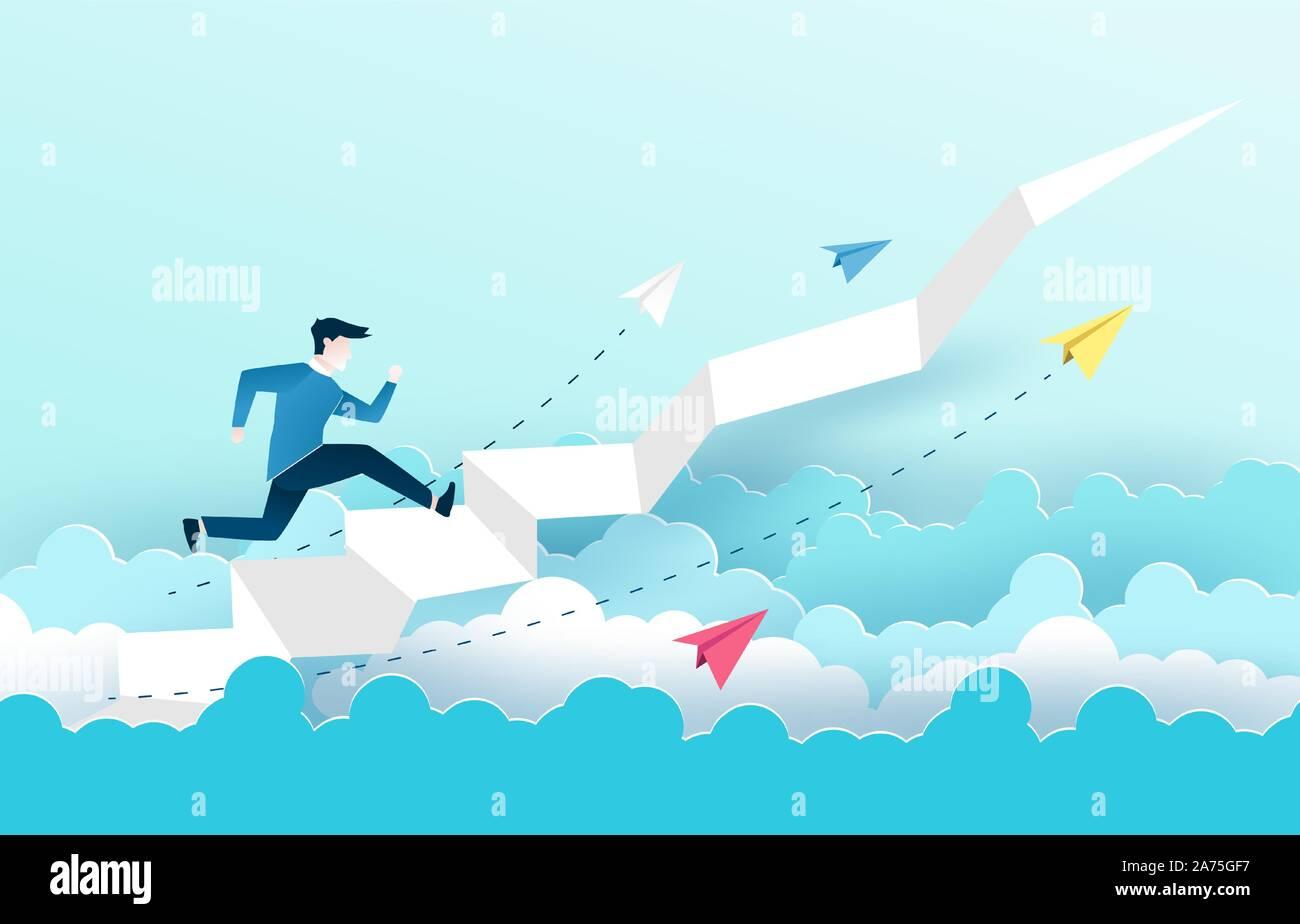 Un homme est de sauter sur l'escalier, Étapes vers le succès. La conception des idées d'affaires en EPS10 vector illustration. Illustration de Vecteur