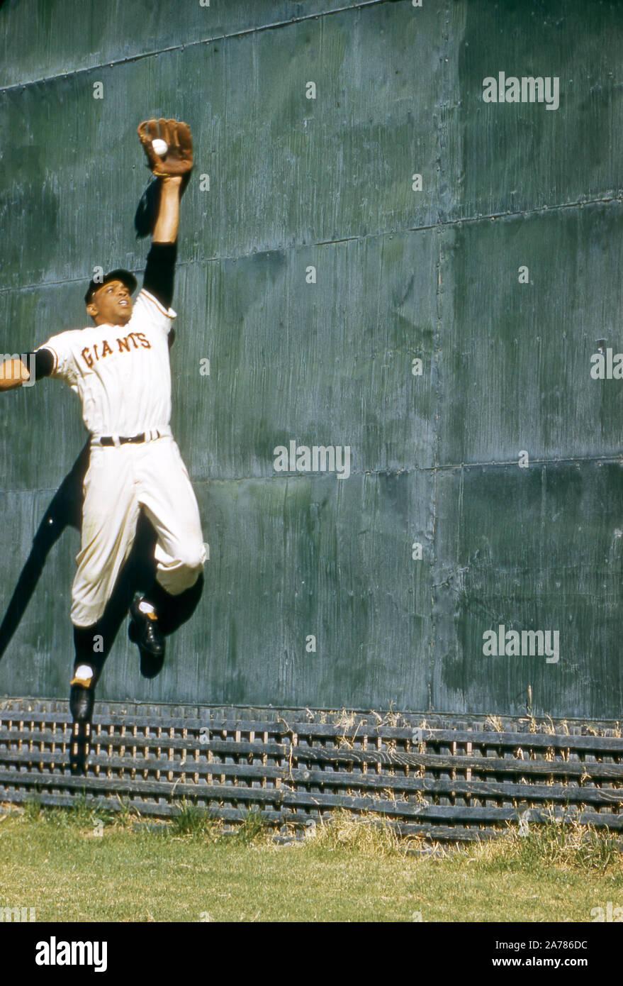 NEW YORK, NY - 1957: Willie Mays #24 de la Nouvelle York énorme permet une prise au mur pendant l'échauffement avant un match de la MLB vers 1957 au Polo Grounds de New York, New York. (Photo de Hy Peskin) *** légende locale *** Willie Mays Banque D'Images