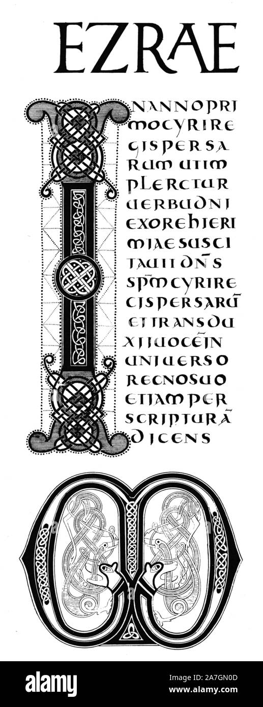 Les initiales I et W à partir de la seconde Bible de Charles le Chauve, manuscrit, après 865, Carlovingian. Alphabets et monogrammes. Banque D'Images