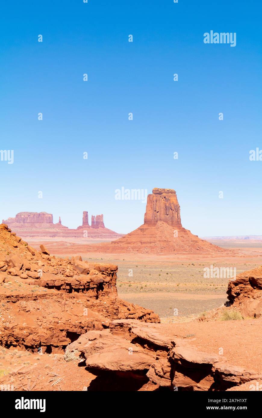 Un paysage avec des buttes de Monument Valley, Utah, United States of America Banque D'Images