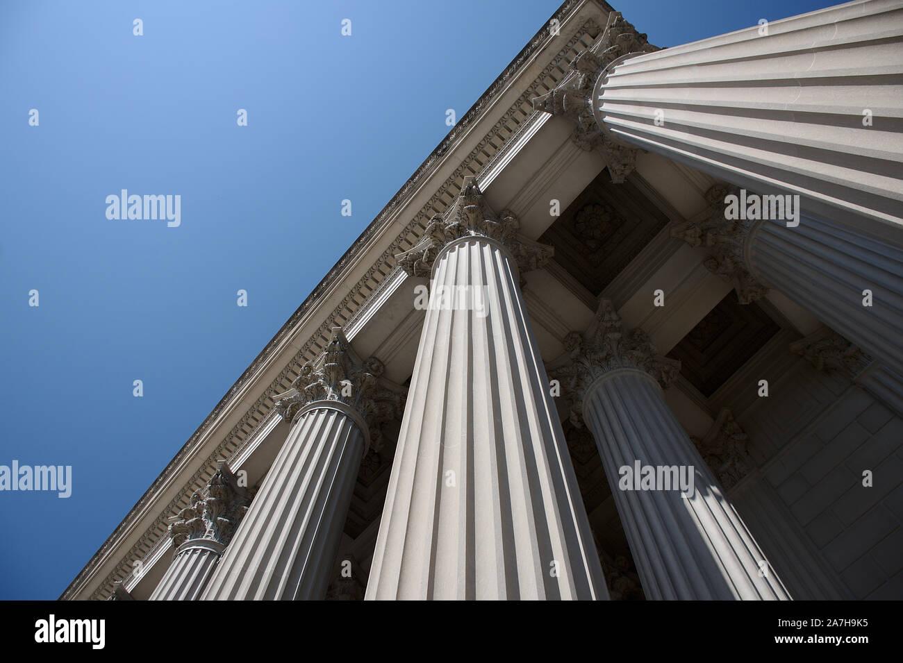 Colonnes à la National Archives sur Constitution Avenue à Washington DC Banque D'Images