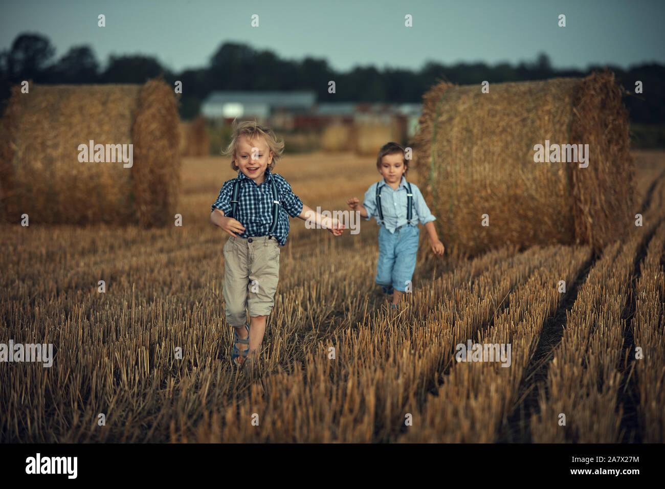Portrait of cheerful, petits frères de jouer sur un champ de maïs Banque D'Images