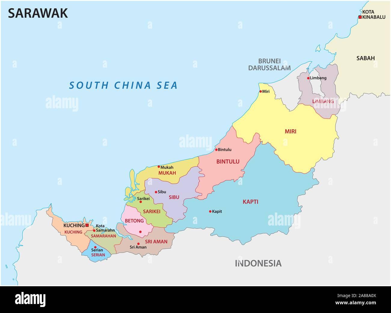 La carte administrative et politique de la division de Malaisie sarawak Illustration de Vecteur