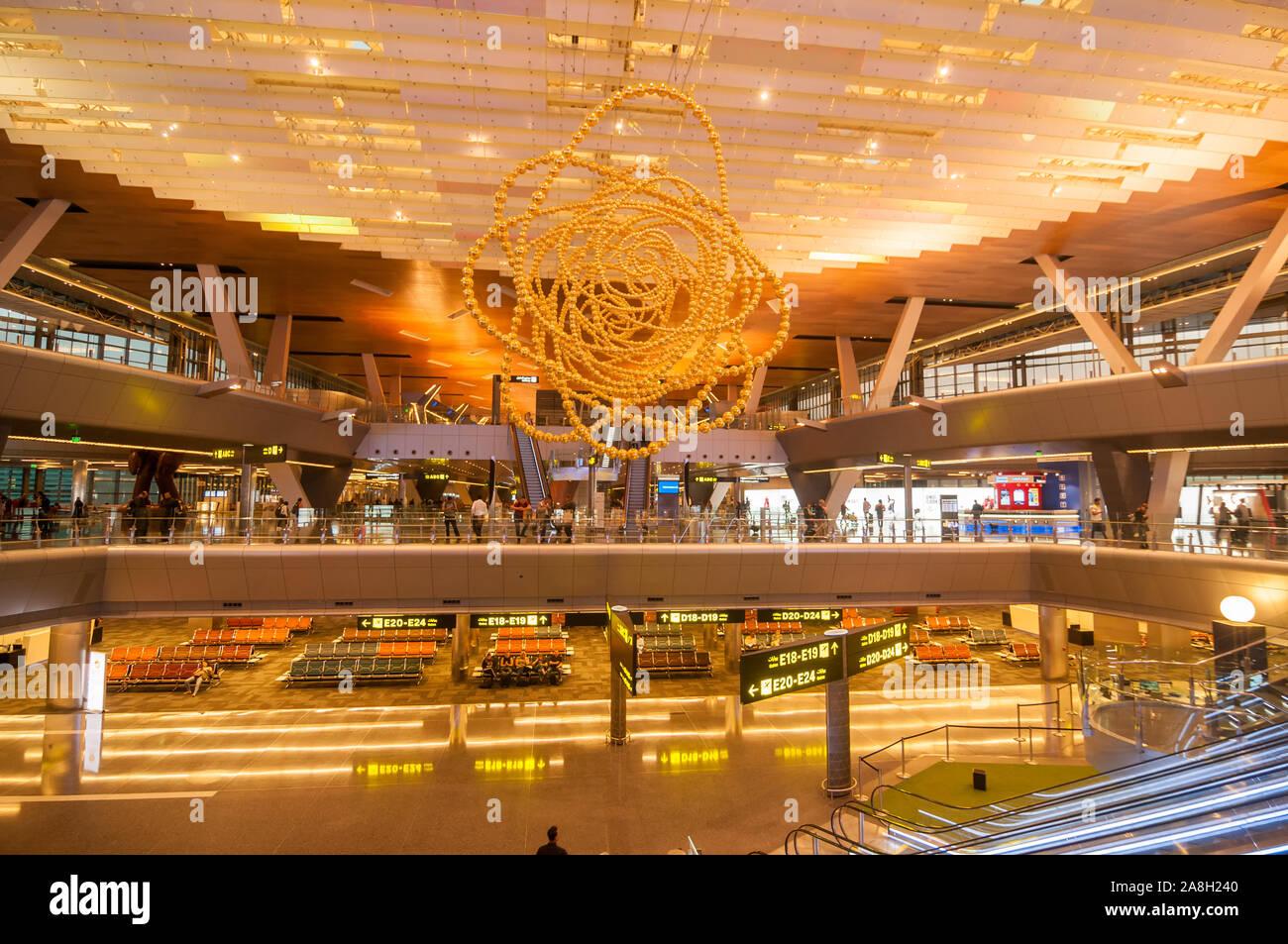 Hall, l'aéroport international Hamad, Doha, Qatar Banque D'Images