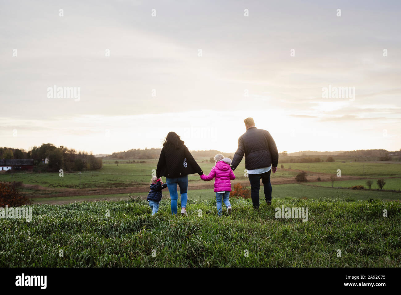 Family walking on meadow Banque D'Images