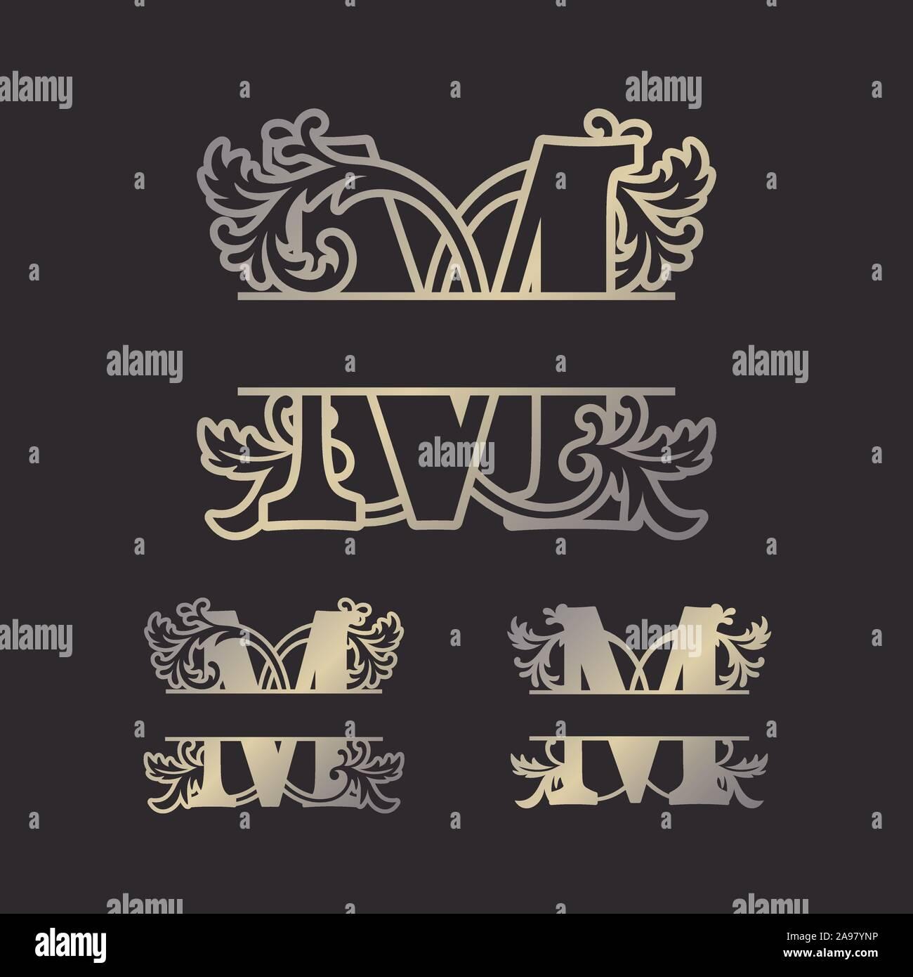 Split, Split monogrammes alphabet lettre Alphabet monogramme, font du châssis. Modèle de coupe au laser. Monogramme initiale des lettres. Illustration de Vecteur
