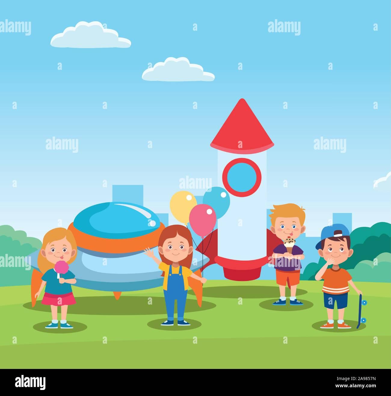 Fusée Spatiale et soucoupes avec cartoon happy kids debout autour Illustration de Vecteur