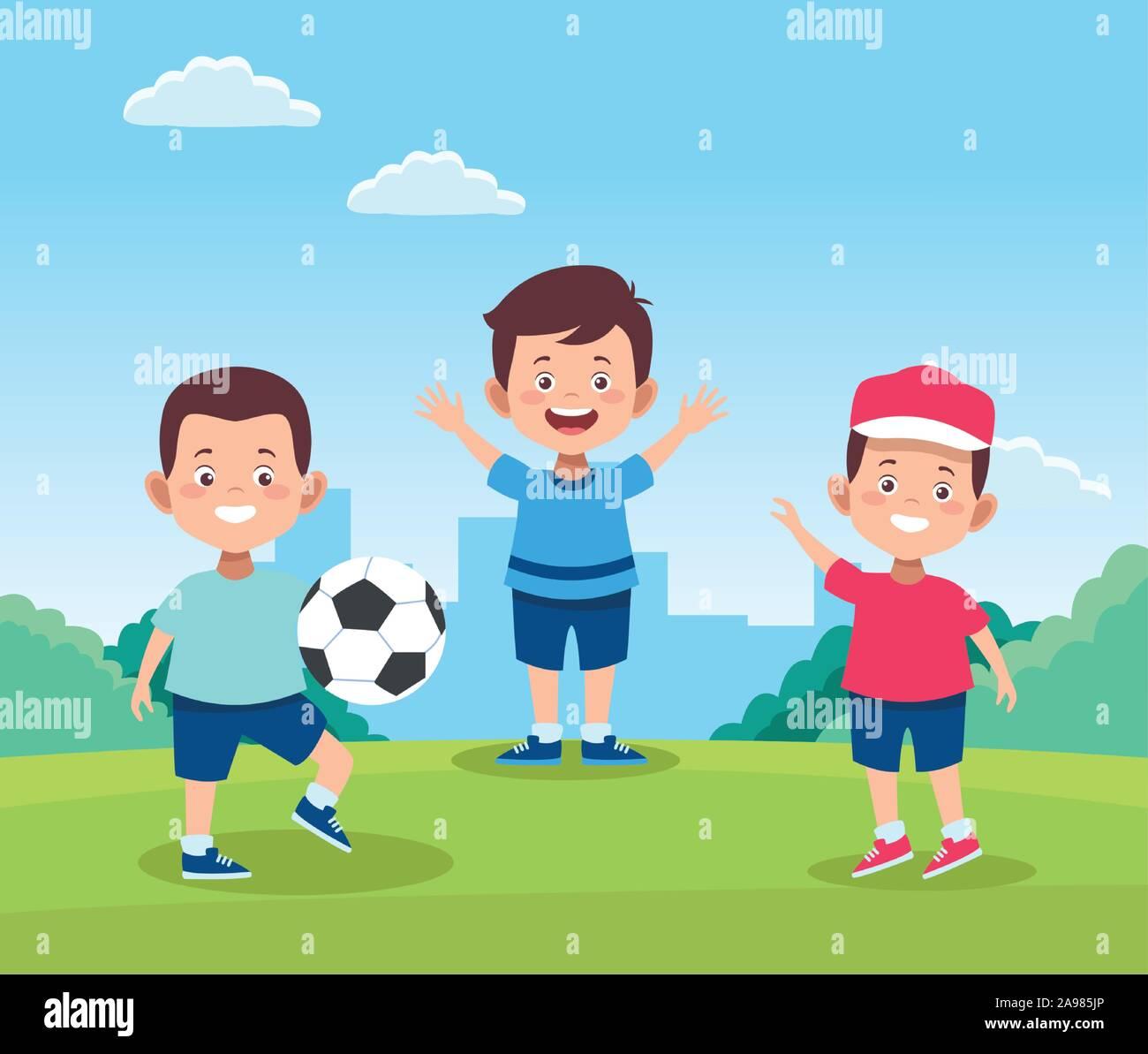 Cartoon happy boys jouant avec un ballon de foot Illustration de Vecteur