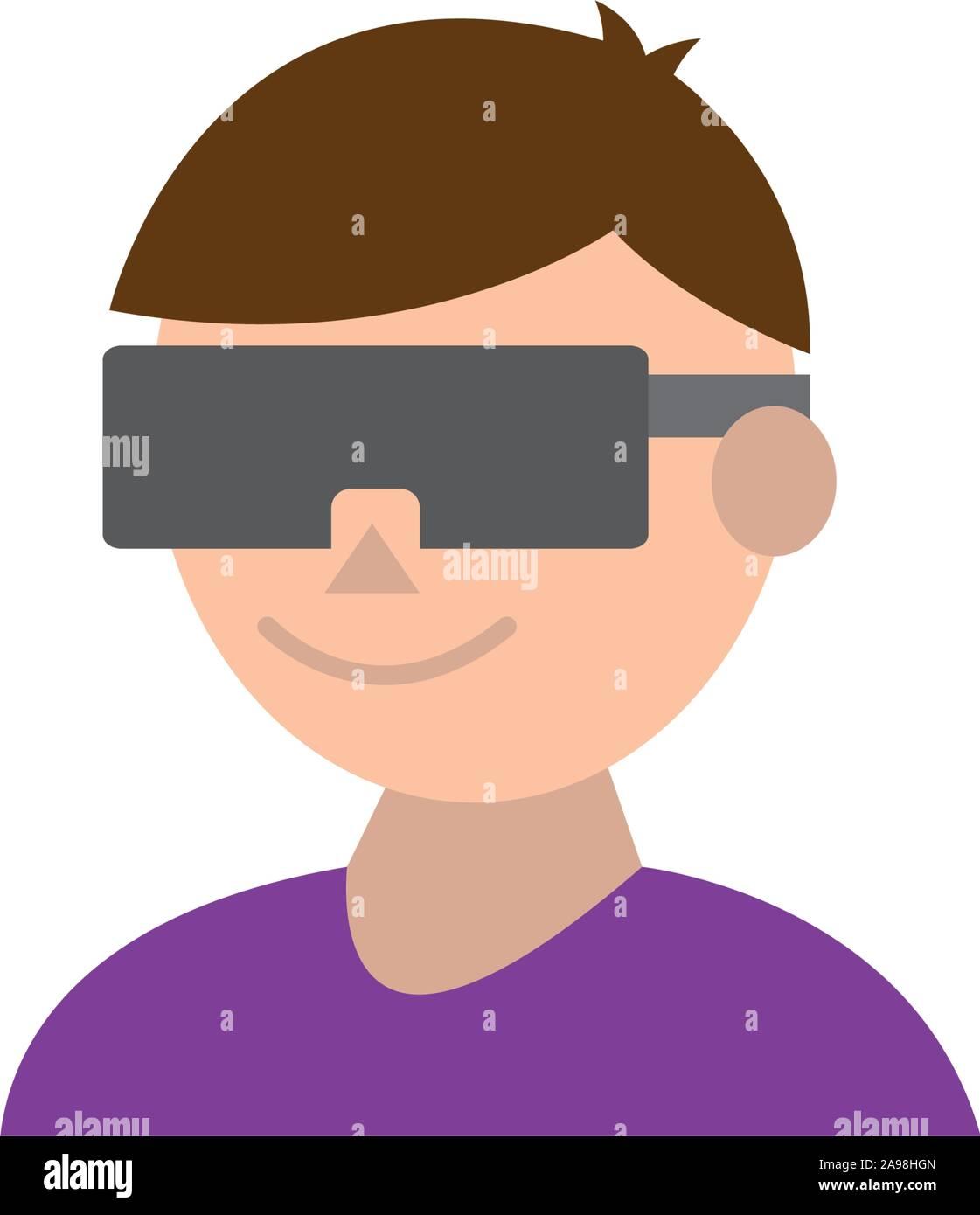 Avatar avec smartglasses icône concevoir, jouer des jeux vidéo la technologie des jeux de loisirs numériques de divertissement et joie thème Vector illustration Illustration de Vecteur