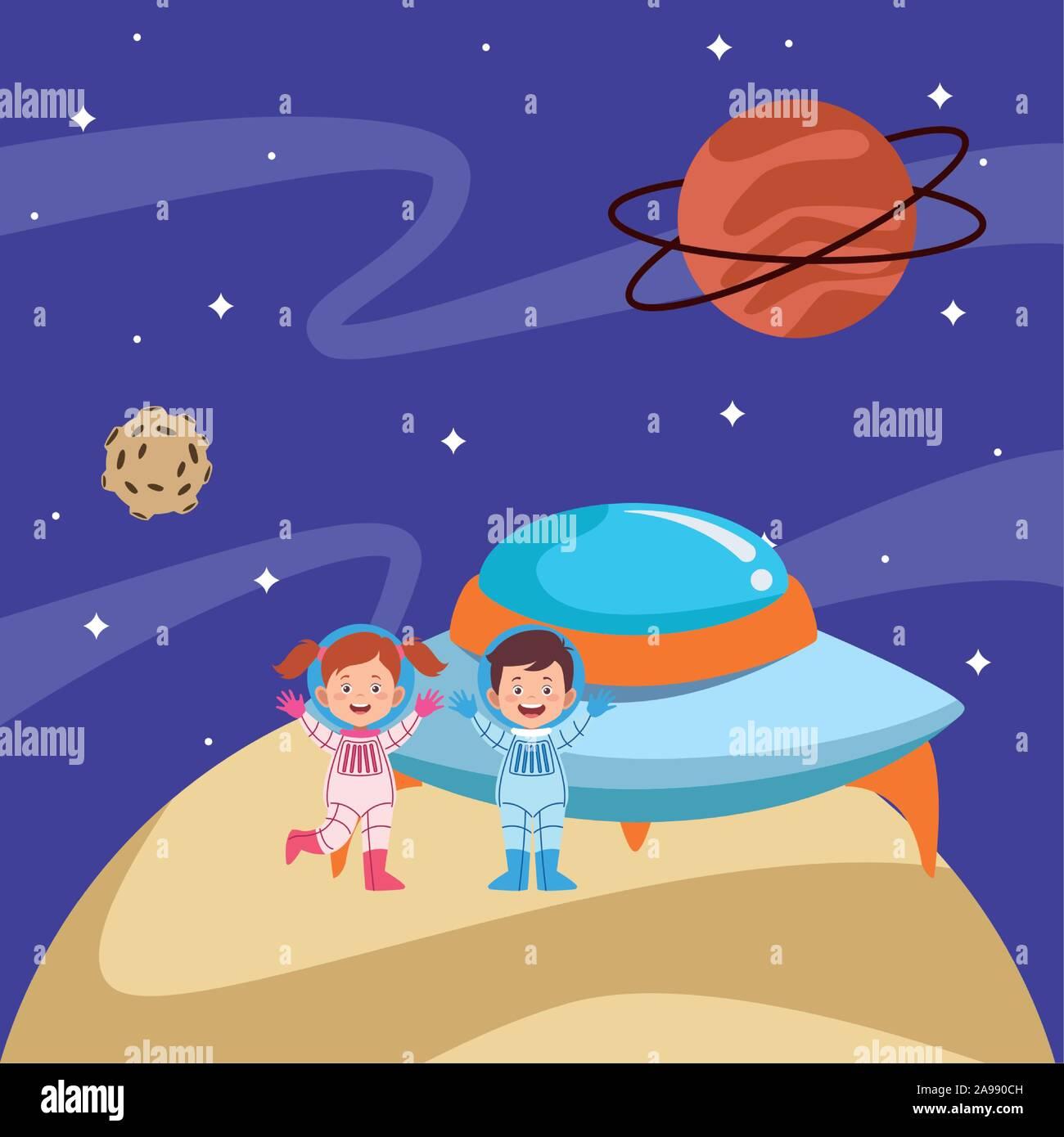 Les astronautes cartoon kids et soucoupes dans l'espace avec les planètes Illustration de Vecteur
