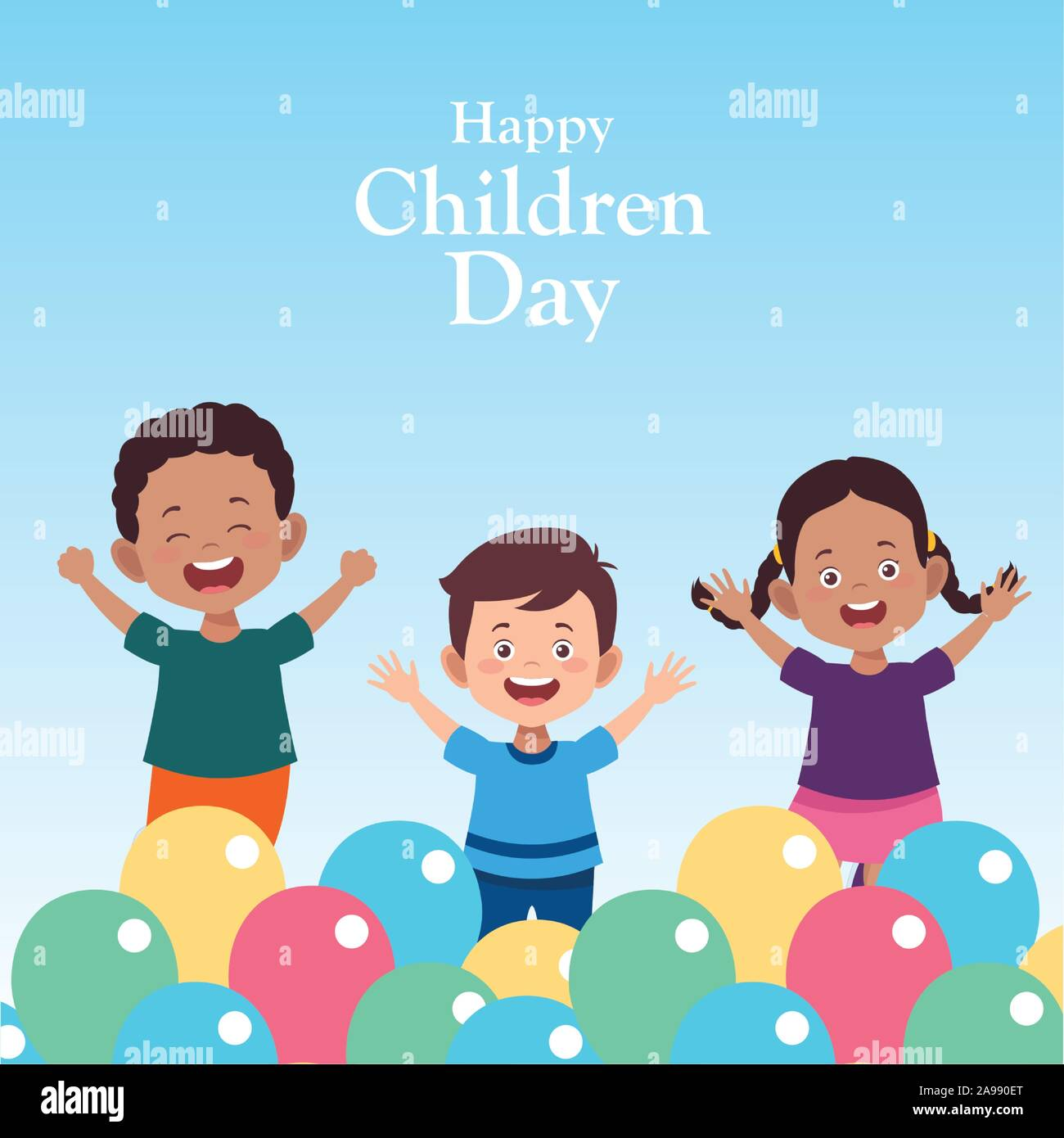 Journée des enfants heureux avec design cartoon enfants heureux et de ballons colorés Illustration de Vecteur