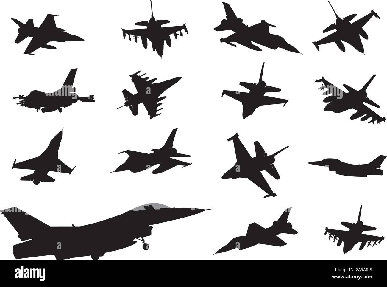 Collection d'aéronefs militaires. Silhouettes vecteur Illustration de Vecteur
