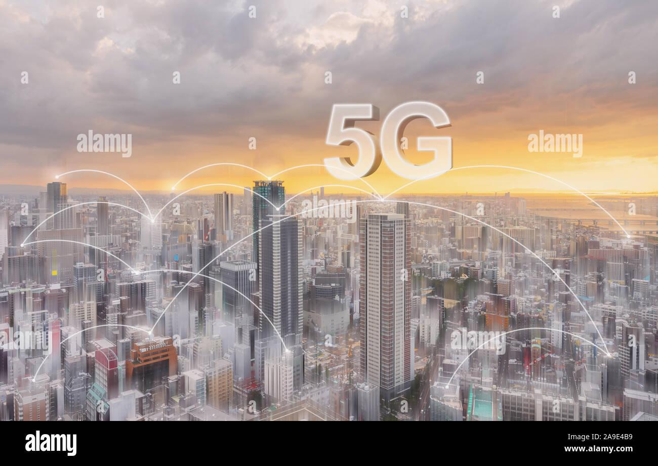 Technologie de connexion réseau dans la ville, avec la mise en réseau internet 5g Banque D'Images