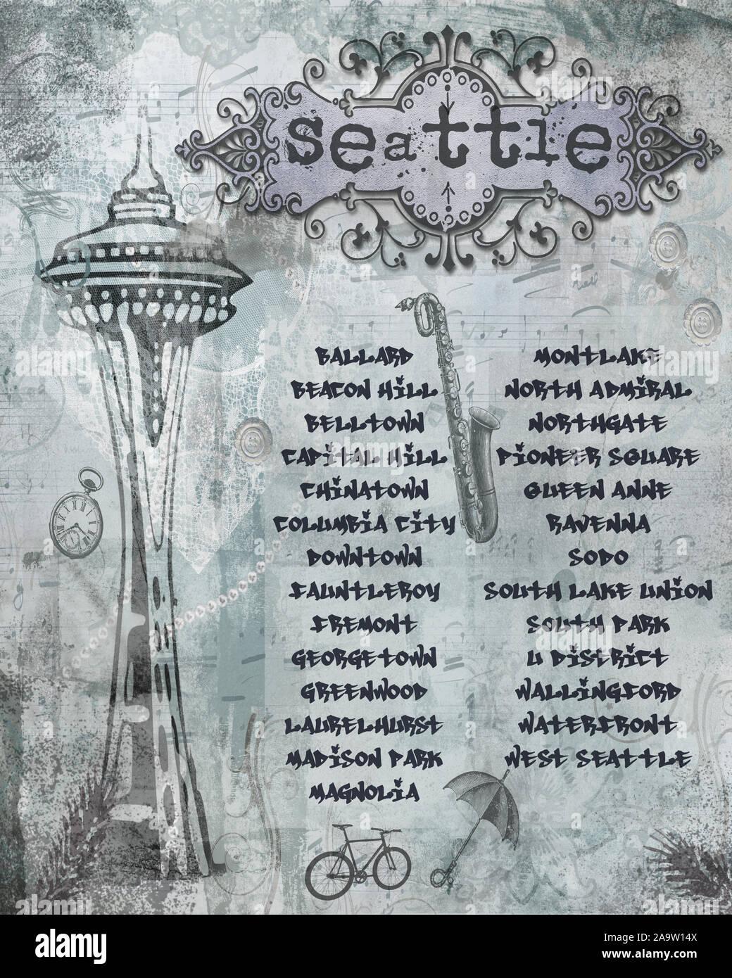 Seattle ephemera shabby art numérique avec de nombreux quartiers de Seattle dans la liste. Connu pour beaucoup de choses comme le Spaceneedle de Seattle, de la musique, d'un parasol, à vélo Banque D'Images