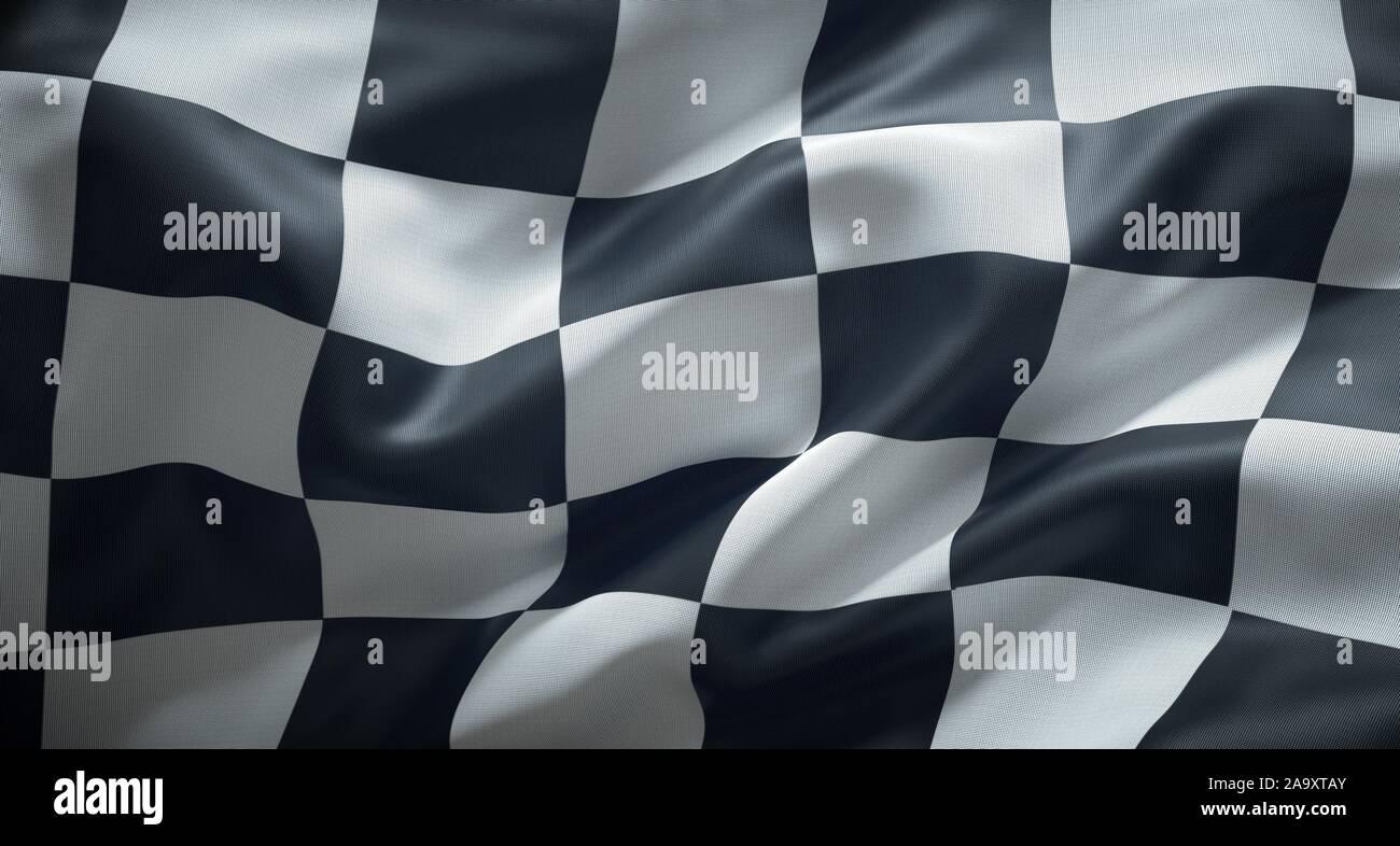 Course en damier noir et blanc drapeau. Banque D'Images