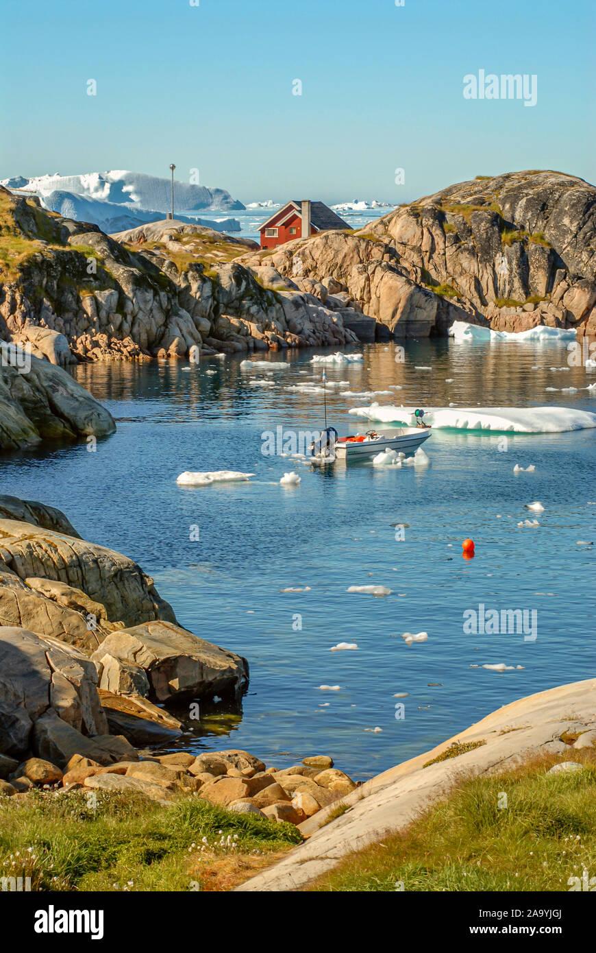 Paysage de l'Arctique dans la baie de Disko au Groenland en été Banque D'Images