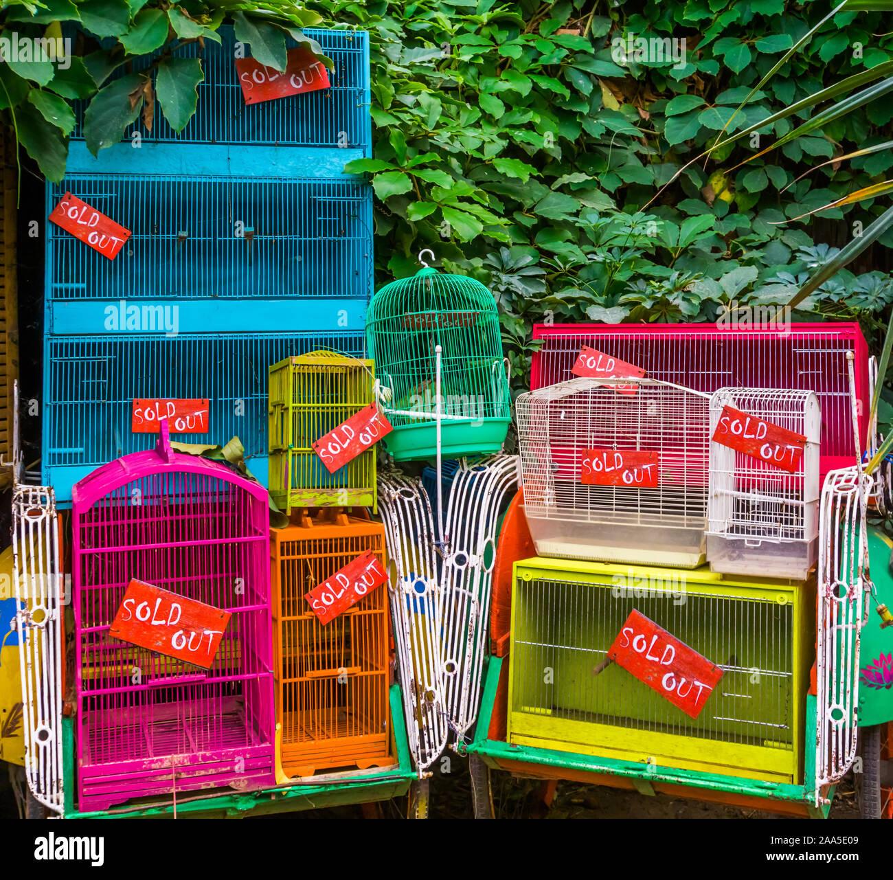 De nombreuses cages d'oiseaux que épuisé tous les oiseaux, d'animaux de compagnie en Asie, l'exploitation des animaux background Banque D'Images