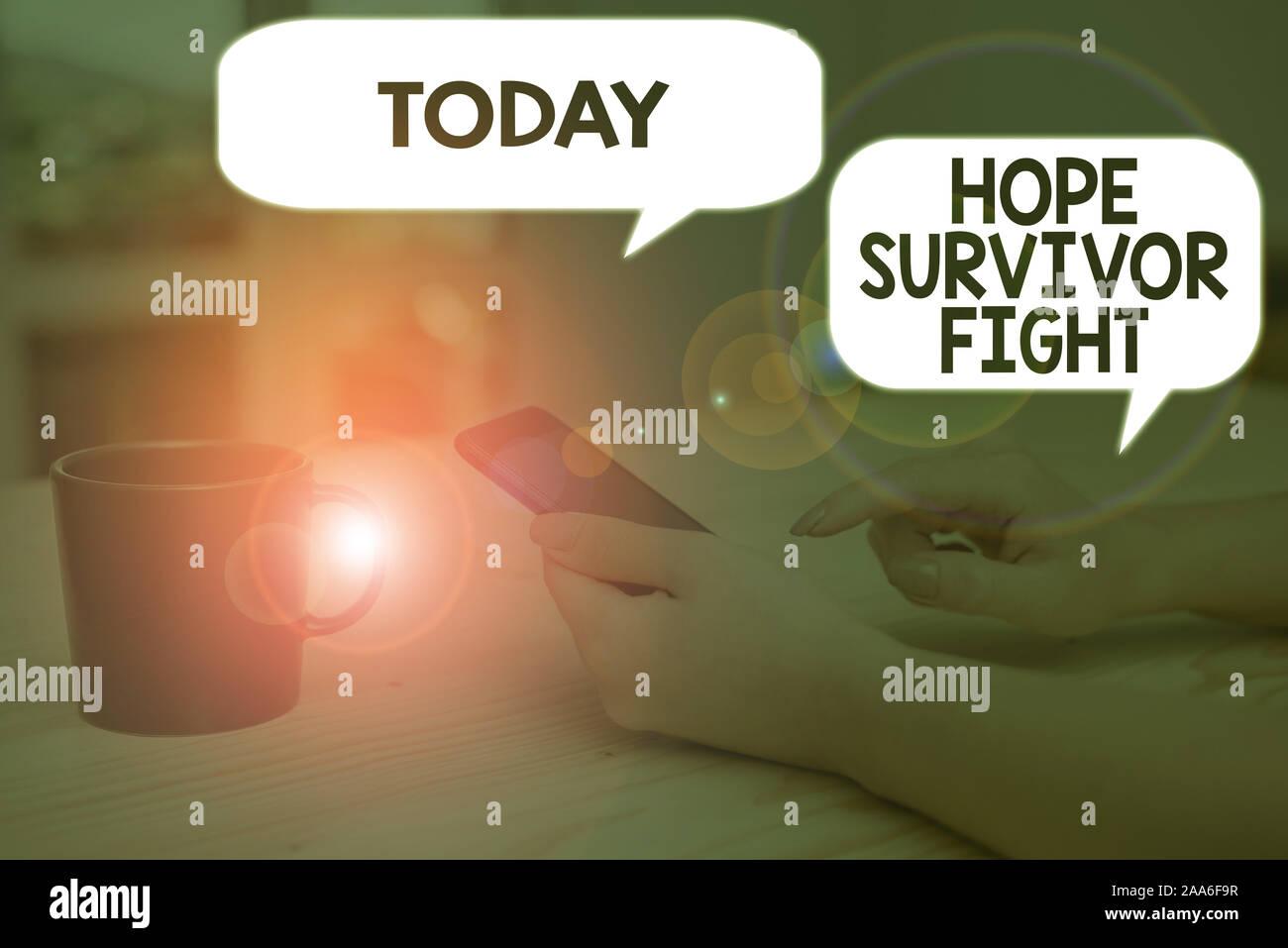 Signe texte montrant l'espoir survivant lutte. Texte photo entreprise position contre votre maladie être fighter stick à rêves Banque D'Images