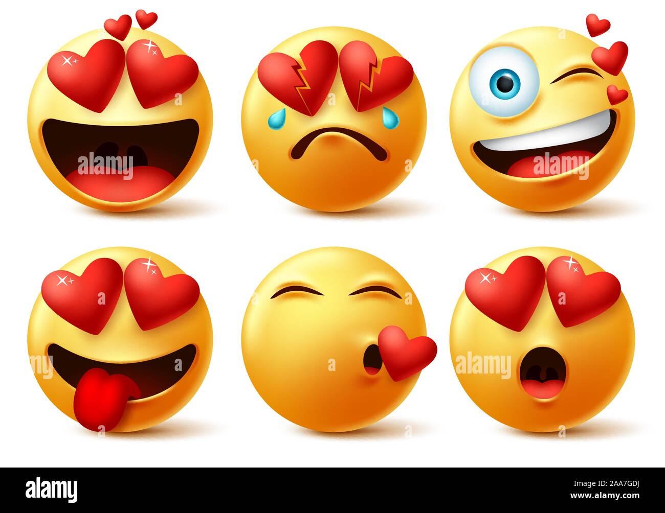 Smiley Et Emoticones Avec Emoji Vecteur Cardiaque Visages Smileys Emoticons De Cœur Rouge Avec Dans L Amour Cassees Embrasser Surprise Et Funny Cute Image Vectorielle Stock Alamy