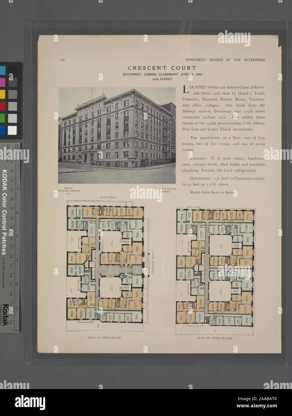Comprend un index. Construit par Charles Hensle, 1905 / architectes - Neville & Bagge; Crescent Court, angle sud-ouest avenue Claremont et 127th Street; Plan d'étage; plan d'étages supérieurs. Banque D'Images