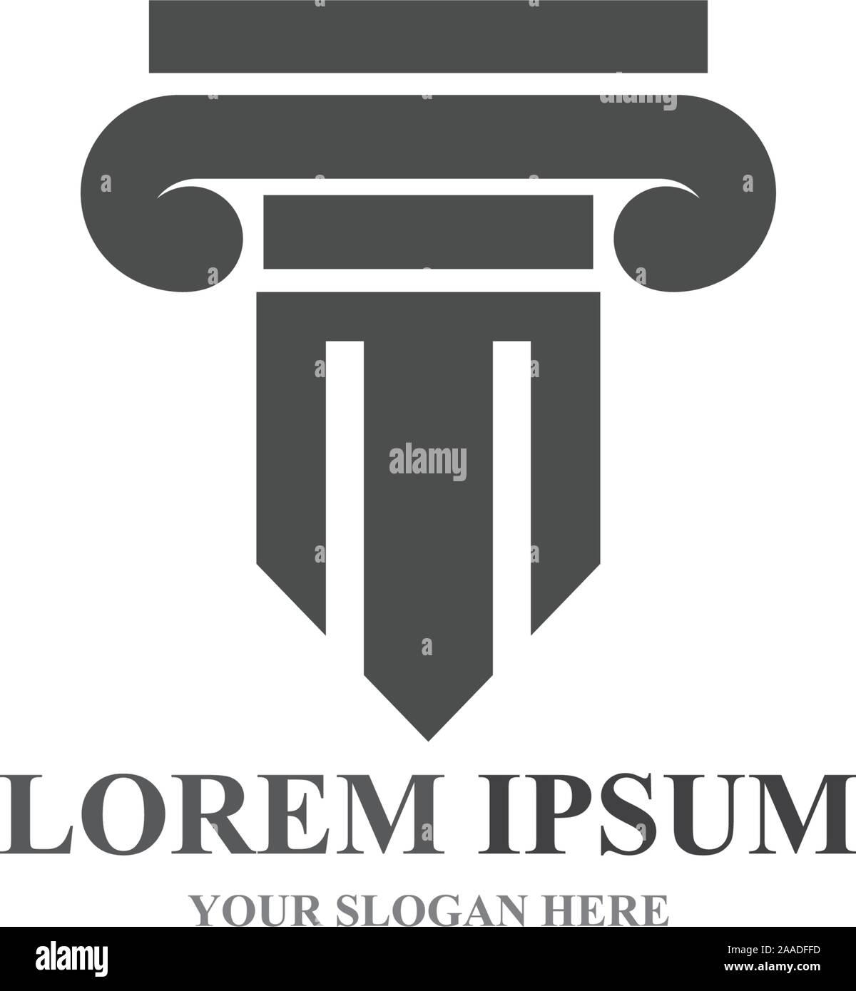 Logo symbole colonne et modèle Illustration de Vecteur