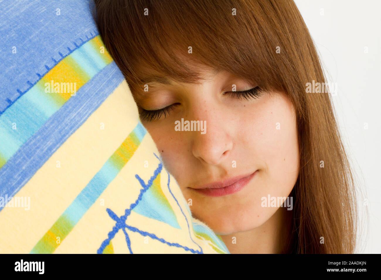 Frau schläft Banque D'Images
