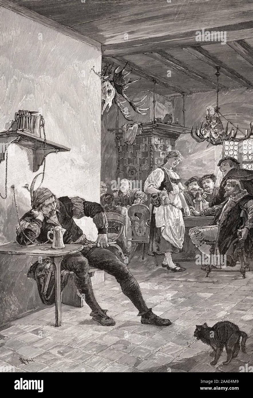 Le siège d'un bourreau dans un pub, l'Allemagne, l'Europe, 16e siècle Banque D'Images