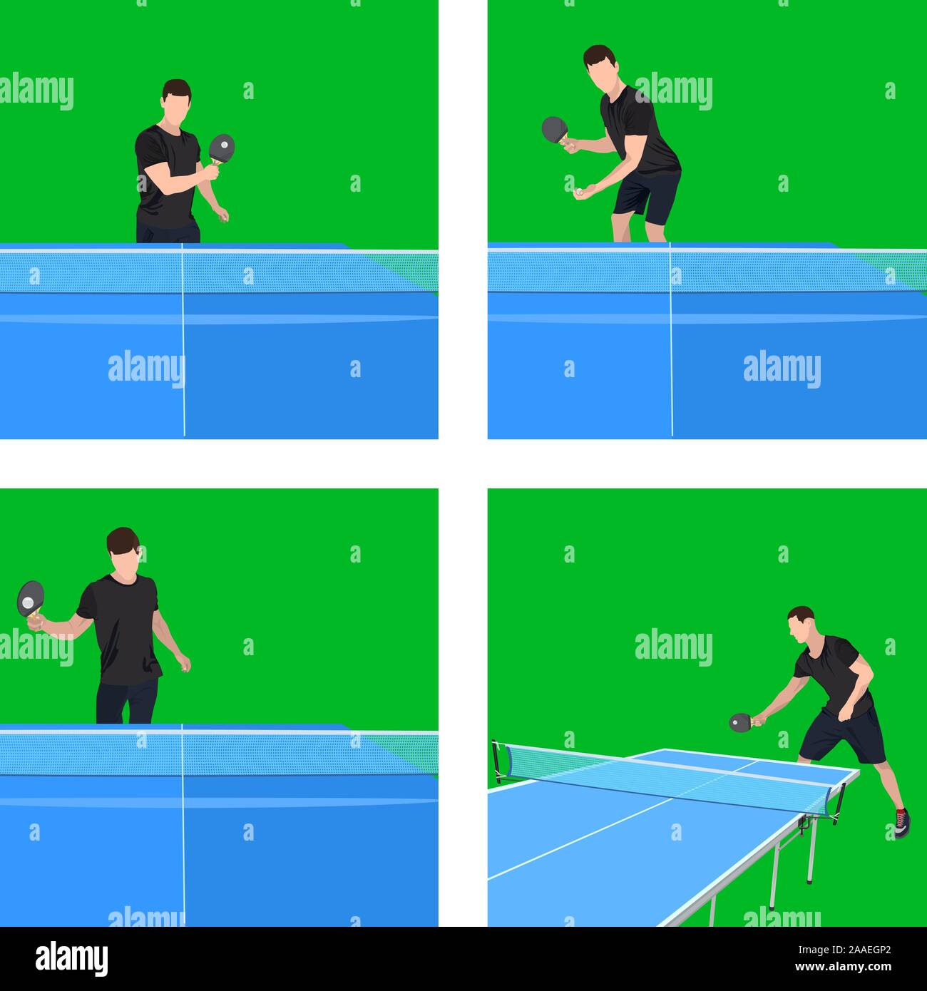 Jeu de ping-pong player jouer au tennis, jeu d'illustration vectorielle Illustration de Vecteur
