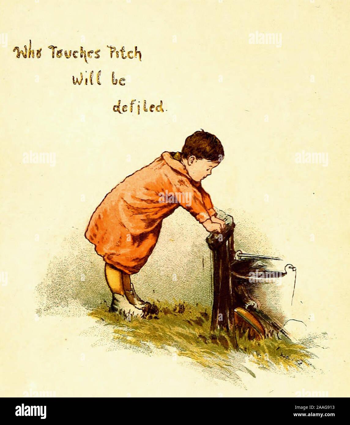 Qui touche pas sera souillé - Vintage Illustration d'un vieux proverbe. Banque D'Images
