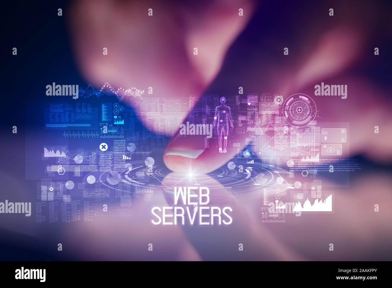 Finger touching tablet avec icônes de la technologie web et les serveurs Web inscription Banque D'Images