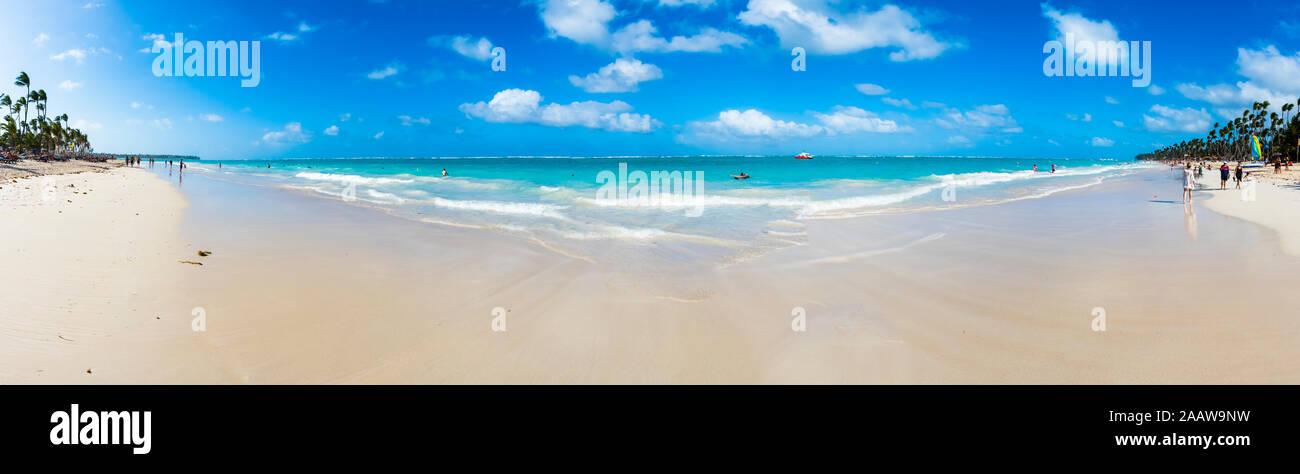 Caraïbes, la République dominicaine, Punta Cana, vue panoramique sur Playa del Cortecito Banque D'Images