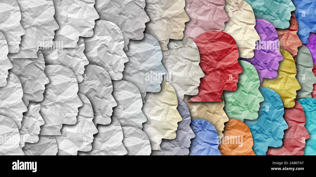 Le changement démographique comme un grand groupe de personnes comme une évolution de la diversité au sein d'une population. Banque D'Images
