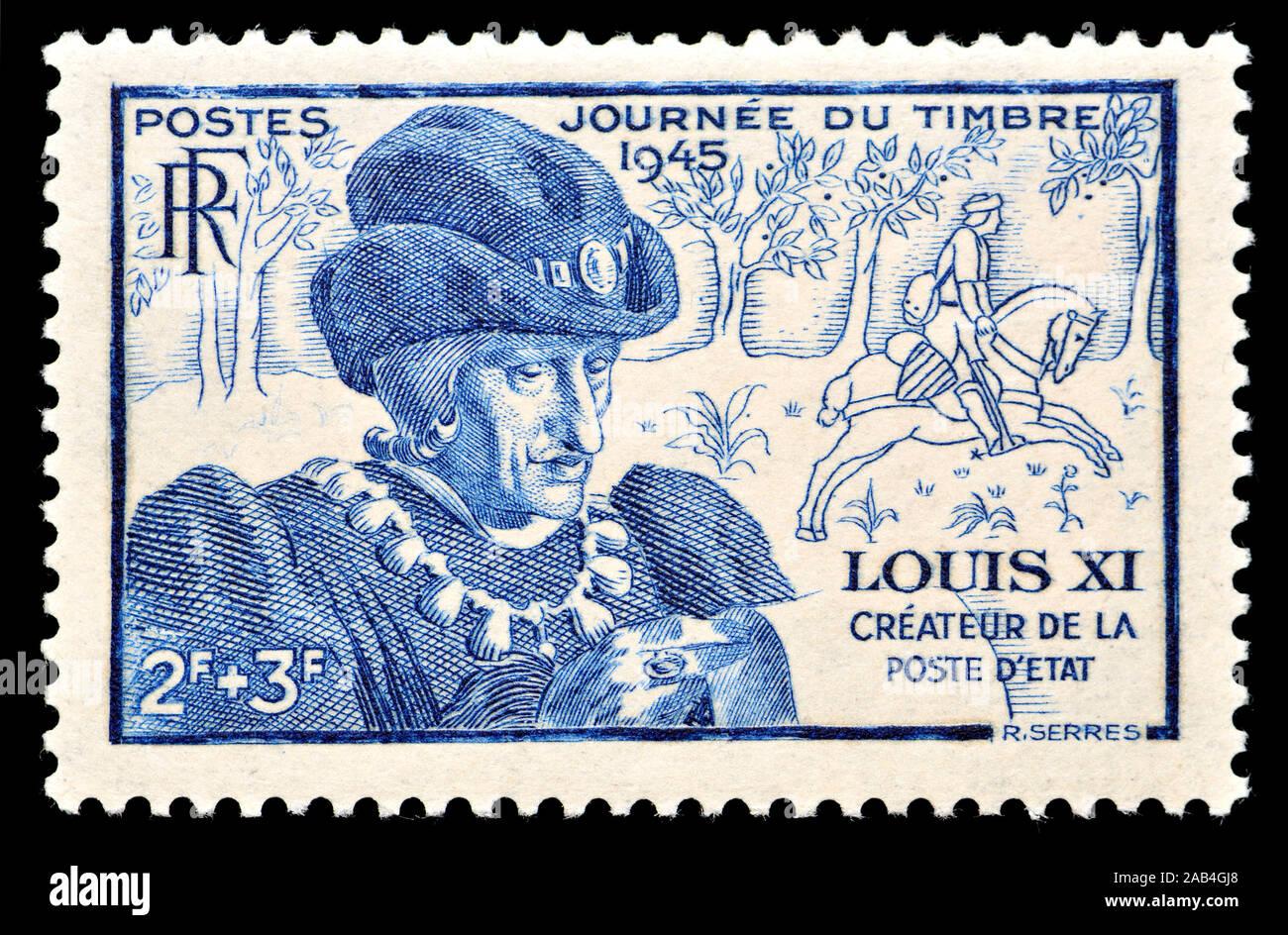 Timbre-poste français (1945): Le roi Louis XI (1423 - 1483) 'Louis la prudence' (le Sage), Roi de France de 1461 à 1483. Banque D'Images