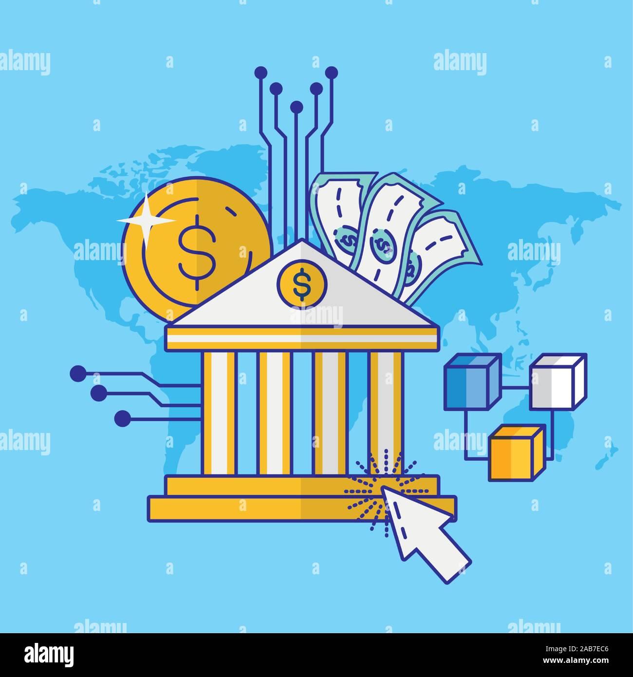 Avec la technologie financière bank building Illustration de Vecteur