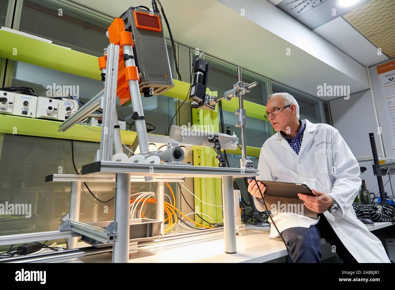 Caméra spectrale, la vision par ordinateur, de laboratoire de systèmes intelligents, de l'industrie, de l'unité Technology Centre, Tecnalia Research & Innovation, Derio, Biscaye, Pays Basque Banque D'Images