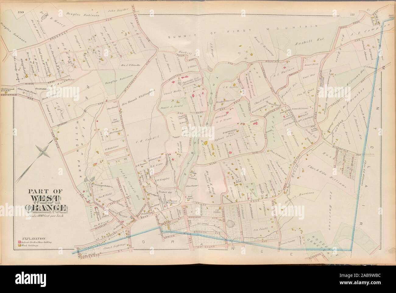Le Comté d'Essex, Page de gauche: Plaque [Partie de West Orange]. E. Robinson (éditeur) Pidgeon, Roger H. (éditeur). Atlas de l'United States New Jersey Banque D'Images