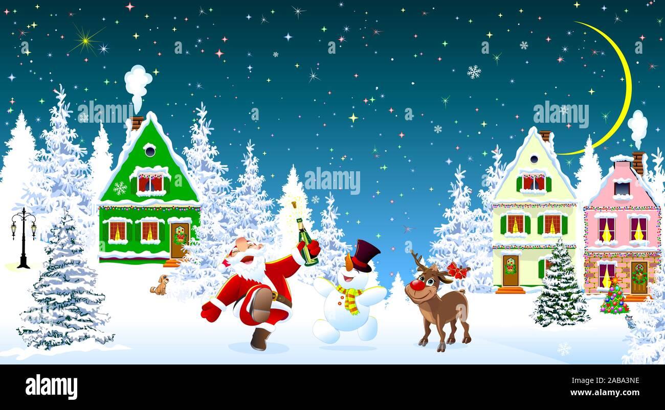 Père Noël, bonhomme de neige et les cerfs dans la nuit de Noël, sur l'arrière-plan de maisons et forêt. Les maisons couvertes de neige et d'arbres. La neige, des flocons de neige. Star Illustration de Vecteur