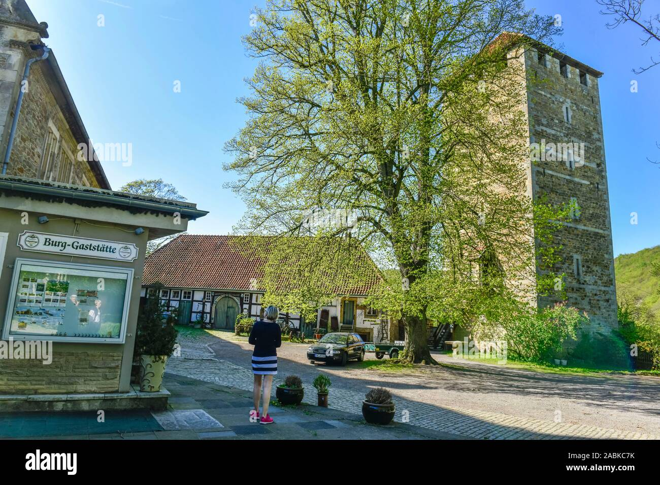 Bergfried, Burg Schaumburg, Rinteln, Weserbergland, Niedersachsen, Deutschland Banque D'Images