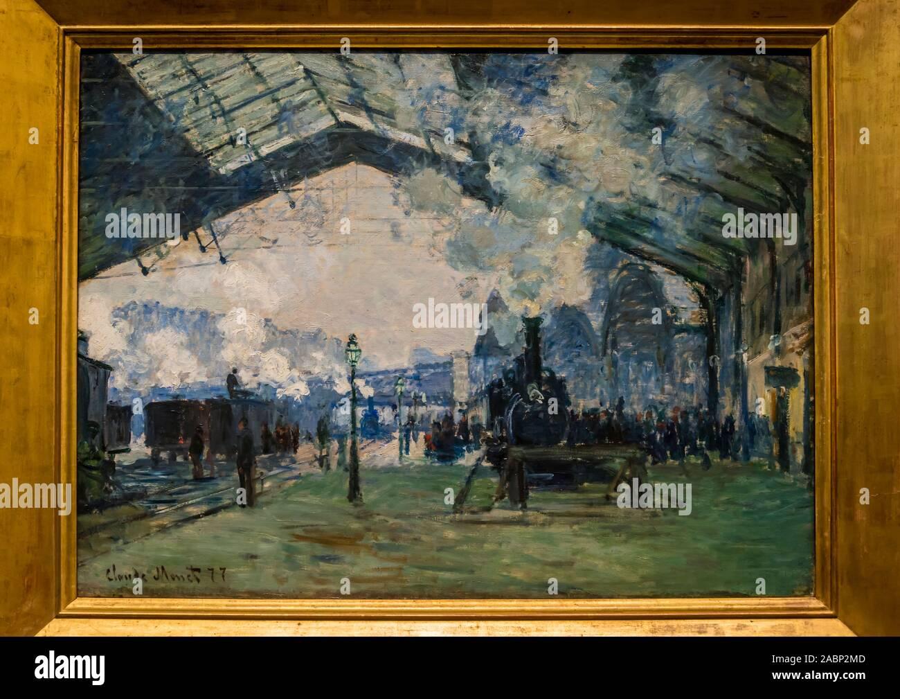 La Peinture De Claude Monet L Arrivee Du Train De Normandie Gare Saint Lazare 1877 The Art Institute Of Chicago Chicago Illinois Etats Unis Photo Stock Alamy