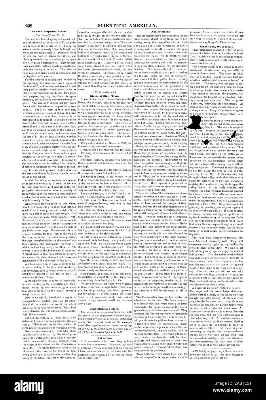 """238 de l'Américain scientifique. Austin's Perpetual Motion. Géants de l'ancien temps. Embellir une histoire. """"Pas si mal. Antiques Thermes. Santa Cruz Antilles., 1847-04-17 Banque D'Images"""